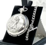 St Christopher Pocket Watch, PERSONALISED ref PWSC